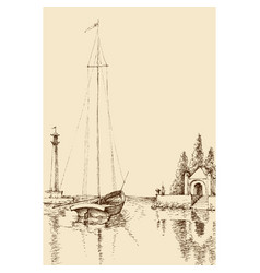 harbor sketch boat on sea shore lighthouse vector image