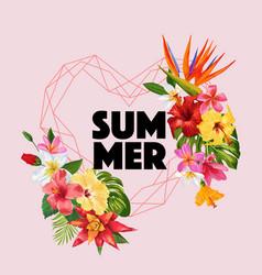hello summer tropic design tropical hibiskus vector image
