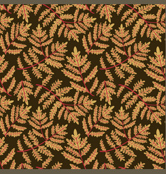 herbs and leaves botanical seamless pattern fern vector image