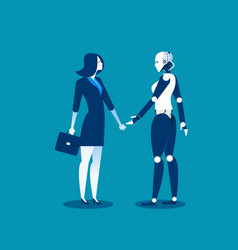 human vs robotbusinesswoman standing with robot vector image