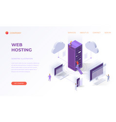 landing page for cloud web hosting vector image