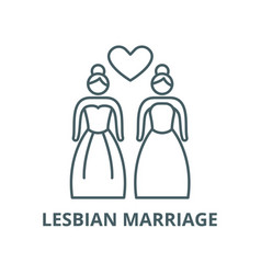 lesbian marriage line icon linear concept vector image
