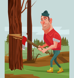 Lumberjack man character chopping wood vector