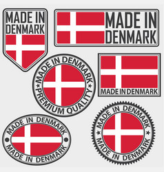 made in denmark label set with flag made in vector image
