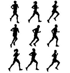 Marathon runners silhouettes vector