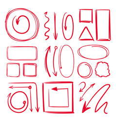 Marker underlines and different doodle frames vector
