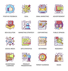 marketing strategy flat icons set vector image