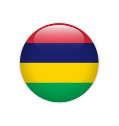 mauritius flag on button vector image