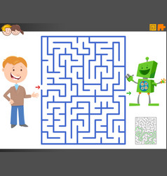 Maze game with cartoon boy and funny toy robot vector