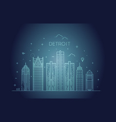 michigan detroit city skyline architecture vector image