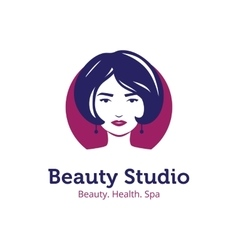 Minimalistic beauty studio logo in blue and vector