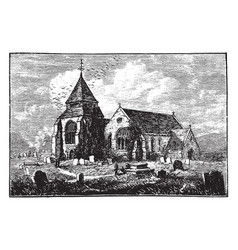 minster church isle of sheppey vintage vector image
