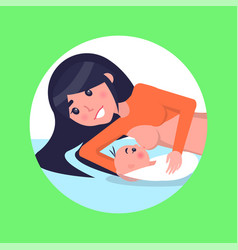 Mother lies and feeds her newborn baby with breast vector
