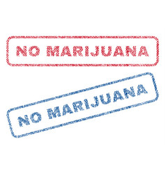 no marijuana textile stamps vector image