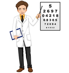 Ophthalmologist pointing at the reading chart vector