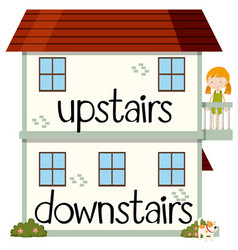 opposite wordcard for upstairs and downstairs vector image