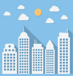 paper urban day landscape with long shadows vector image
