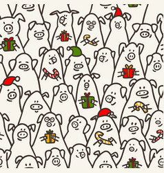 pig seamless pattern funny pigs with candy canes vector image