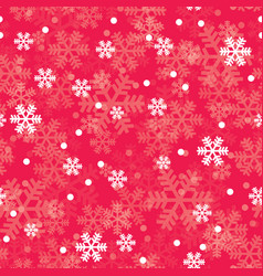 red christmas snowflakes seamless pattern vector image