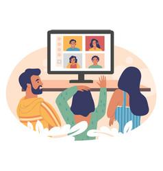 relatives communicating online via group video vector image