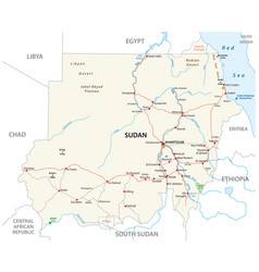 republic sudan road map vector image