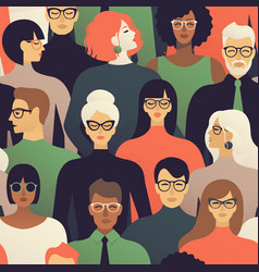 seamless pattern of many different people profile vector image