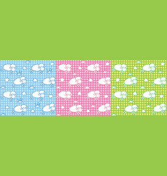 Seamless pattern set with funny sheeps and clouds vector