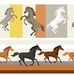 Seamless patterns with horse in flat style vector image