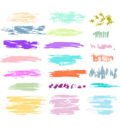 set brush strokes in pastel colors vector image