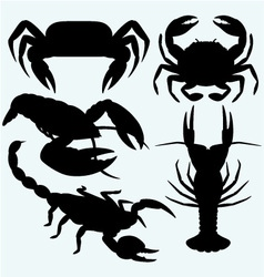 Set crustaceans vector