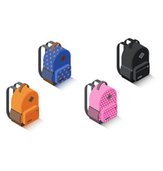 Set isometric backpack different color vector