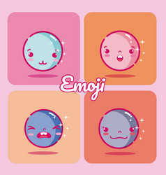 set of cute emojis vector image