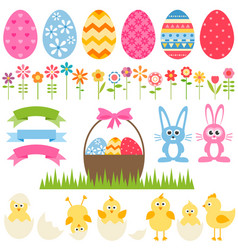Set of elements for easter design vector