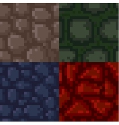 Set of pixel stone textures vector image