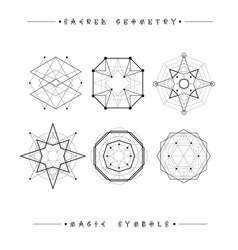 Set of symbols and elements alchemy religion vector