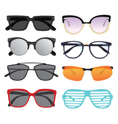 set sunglasses collection stylish glasses vector image