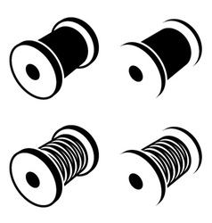 Sewing thread spool black symbol vector