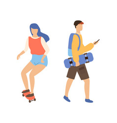 skateboarding couple woman on skateboard and man vector image