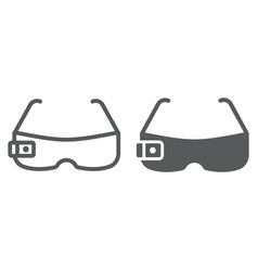 Smart glasses line and glyph icon technology and vector