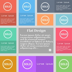 Sold icon sign Set of multicolored buttons with vector