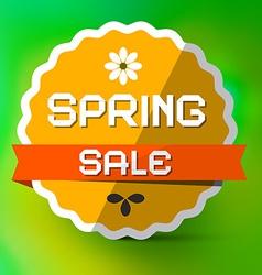 Spring Sale Orange Label on Green Bokeh Background vector