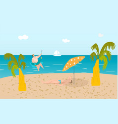 summer beach with funny people tropical palms and vector image