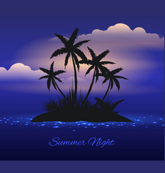 Summer night tropical island with palm vector