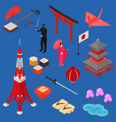 Symbol of japan icon set isometric view vector