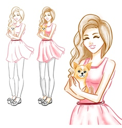 The girl hugs a little dog of a chihuahua vector image