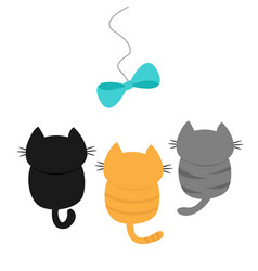 three kittens looking up to bow on rope cute vector image