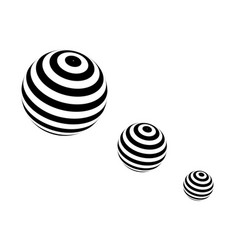 Three spheres with black stripes in progression vector