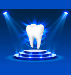 Tooth on a blue background template design vector