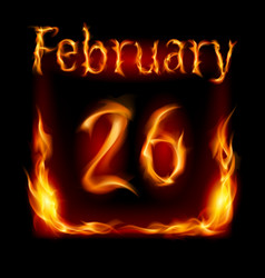 Twenty-sixth february in calendar of fire icon on vector