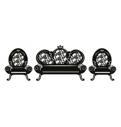 Vintage baroque sofa and armchairs vector